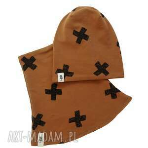 zestaw czapka komin brązowy, i komin, zestaw, zimowa czapka, bawełna