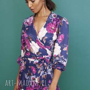 sukienki asymetryczna, kopertowa sukienka, suk161 kwiaty, wiązana