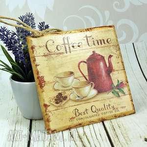 drewniany obrazek - czas na kawę, kawa, obrazek, deska, kuchni, drewniany