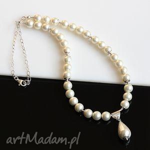 naszyjnik z pereł seashell - perły, seashell, srebro, ślub, naszyjnik