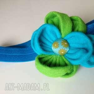 hand-made dla dziecka opaska niemowlęca - turkus i zieleń