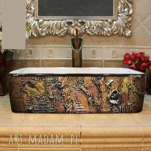 ręczne wykonanie ceramika marrona - artystyczna umywalka nablatowa