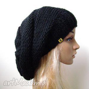 czarna czapa, czapka, lekka, zima, długa, wisząca