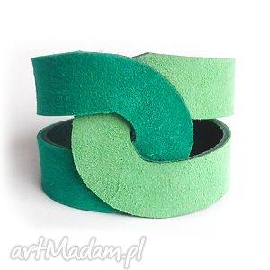 bransoletka skórzana tangled zielona, greenery, zamszowa