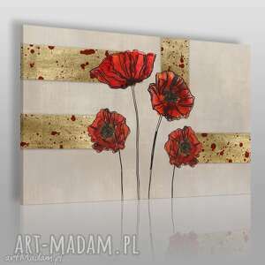 obraz na płótnie - maki złoty 120x80 cm 65701, maki, tradycyjny, klasyczny, kwiaty