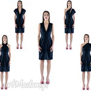multistylizacyjna sukienka - creative dress, multifunkcyjna, czarna, midi