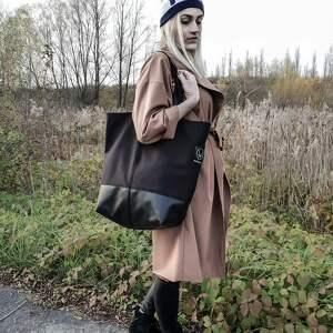 Czarna duża torba na zamek, torba-na-zamek, torba-pojemna, torba-wegańska