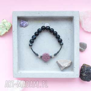 czarna bransoletka high z różową lawą agatem i matowym hematytem, dwustronna