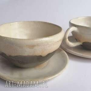 ceramika komplet kawowy kawa z bitą śmietaną, rękodzieło