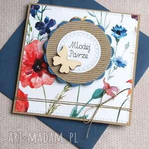 kartka ślubna polne kwiaty, ślub