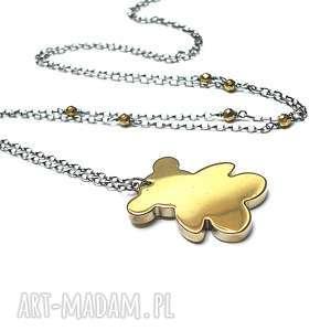 miś /złoty/ - naszyjnik, srebro, oksydowane, hematyty, miś, długi