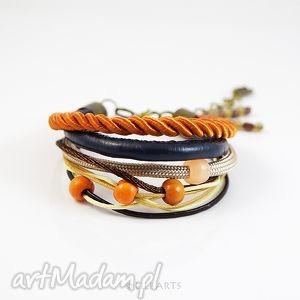 bransoletka - pomarańczowa rzemienie, bransoletka, sznurki