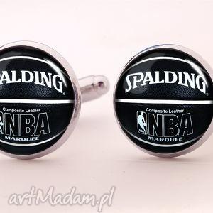 piłka koszykowa - spinki do mankietów - czarne spinki do koszykówka