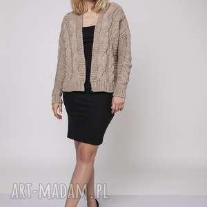 sweter bez zapięcia, swe150 mocca mkm, gruby, sweter, kardigan, narzutka, blezer