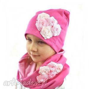 czapka z kominem w różyczyki - komplety, prezent, czapki
