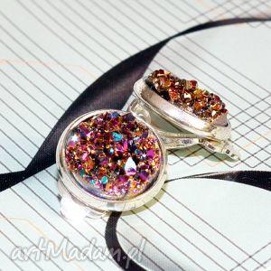 Prezent KLIPSY :: iskry fioletowo złote, klips, fiolety, złoty, małe, prezent, druz
