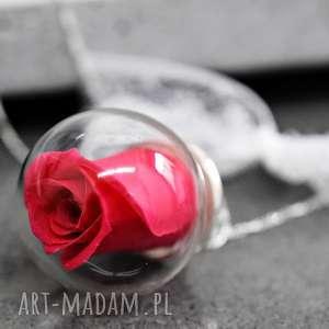 925 Srebrny łańcuszek róża Fuksja , róża, prawdziwa, kwiat, natura, kula, szklana