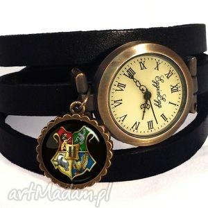 hand made zegarki hogwart - zegarek / bransoletka na skórzanym pasku