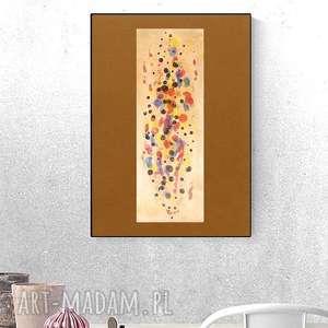 nowoczesna grafika, abstrakcyjna dekoracja na ścianę, ciepłe kolory