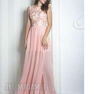 Sukienka Sharon II maxi różowa, długa, wieczorowa, koronka, szyfon, wesele