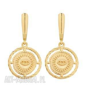 złote kolczyki z oczami, oczy, masywne, duże, bigle, pozłacane, medalion