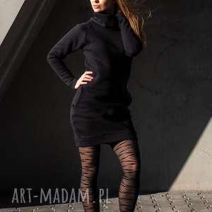 sukienki sukienka dresowa dresówka z kominem czarna, tunika, dresowa