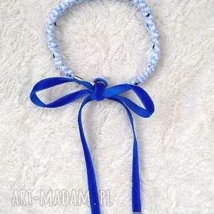 timosimo - naszyjnik kolorowa kokardka -kobalt, naszyjnik, choker, biżuteria