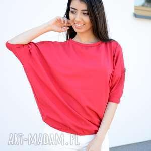 bluzki szeroka luźna bluzka nietoperz oversize czerwona, bawełna, dzianina