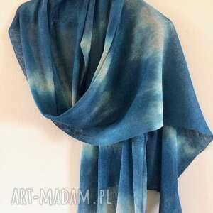 ręcznie wykonane szaliki szal lniany morski