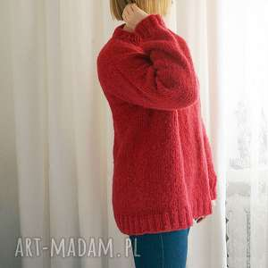 sweter z alpaki i jedwabiu, sweter, dziergany, włniany, jedwab