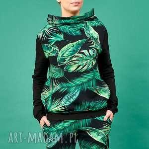 Bluza z kominem motyw tropikalny, motyw-tropikalny, bluza-tropikalna, damska-bluza