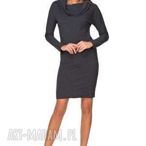 sukienki sukienka dresowa z dużym kominem t191, ciemnoszary, sukienka