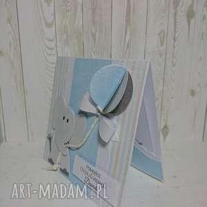 zaproszenie kartka błękitny balon w 3d - chrzest, urodziny, słonik, pamiatka