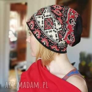 czapka damska boho duża cekiny etno - czapka, etno, boho, cekiny, kolorowa, sport