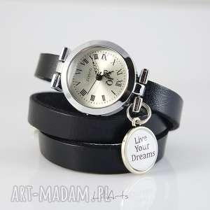 ręczne wykonanie zegarki bransoletka, zegarek - live your dreams - czarny, skórzany