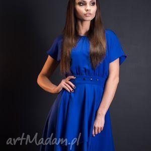 kobaltowa sukienka wizytowa przedłużana z tyłu, ogonem, rozmiar 42