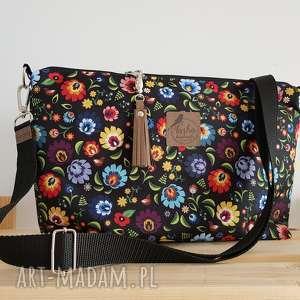 ręcznie zrobione na ramię torebka mini plus pocket łowicki folk & frędzel washpapa