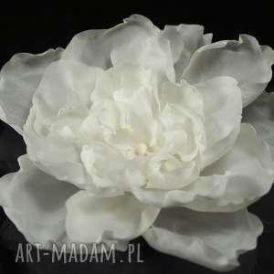 Jedwabny kwiat z perłą, swarovski, perła, kwiat, jedwab, ozdoba,