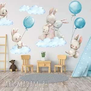 naklejki na ścianę króliczki balony niebieskie nr 4 chmurki 100cm