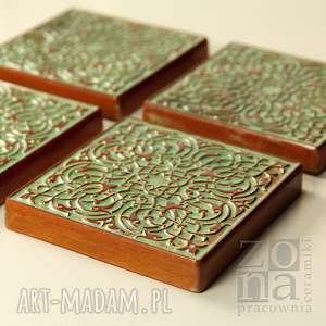 dekory zielono - brązowe, dekory, kafle, ornament, dekoracja, kafle-ścienne