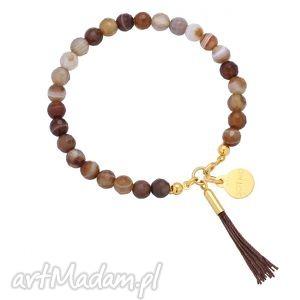 bransoletka z brązowego fasetowanego agatu zdobiona chwostem, bransoletka, brązowa