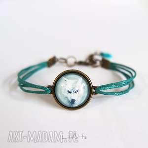 hand-made bransoletka - biały wilk turkusowa, antyczny brąz, sznureczki