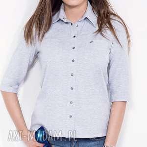 szara koszula damska z kołnierzykiem s, koszula, do-pracy, casual, melznż, bawełniana