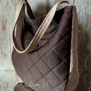 handmade na ramię pikowana torba hobo w brązie