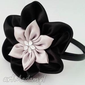 czarno-szara opaska - czarne opaski prezent, ozdoby