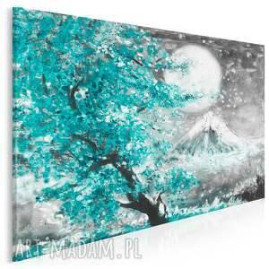 obraz na płótnie - japonia wiśnia pejzaż turkusowy 120x80 cm 89904
