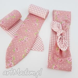 różowa opaska pin up - ,opaska,pinup,kwiaty,różowa,pudrowa,