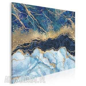 obraz na płótnie - marmur złoto błękit granat w kwadracie 80x80 cm 96502