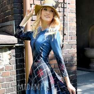 Sukienka STAR 3/4 Midi Roxana 2, krata, kieszenie, midi, koło, denim, rozkloszowana