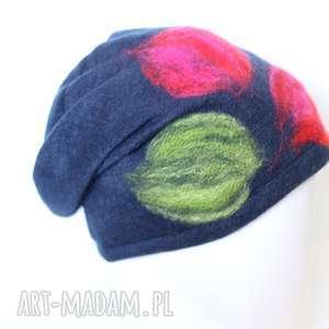 czapka wełniana filcowana handmade - czapka, etno, granat, filc, kolorowa, prezent